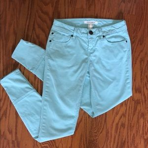 Turquoise Skinny Jeans With Zippers